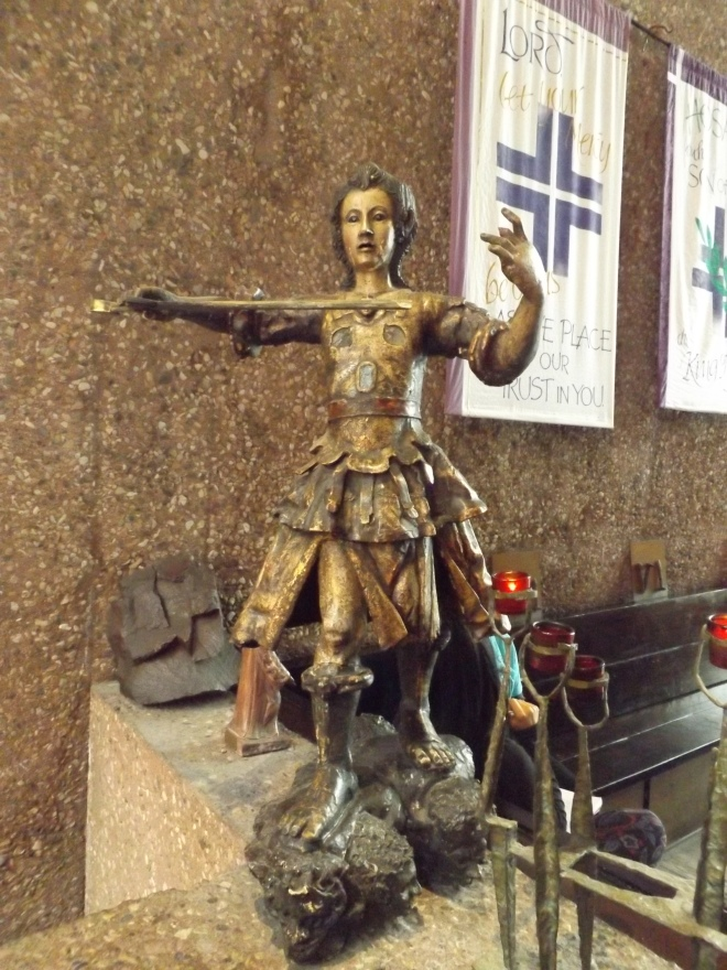 Statue of St. Michael the Archangel in the Chapel of the Holy Cross.
