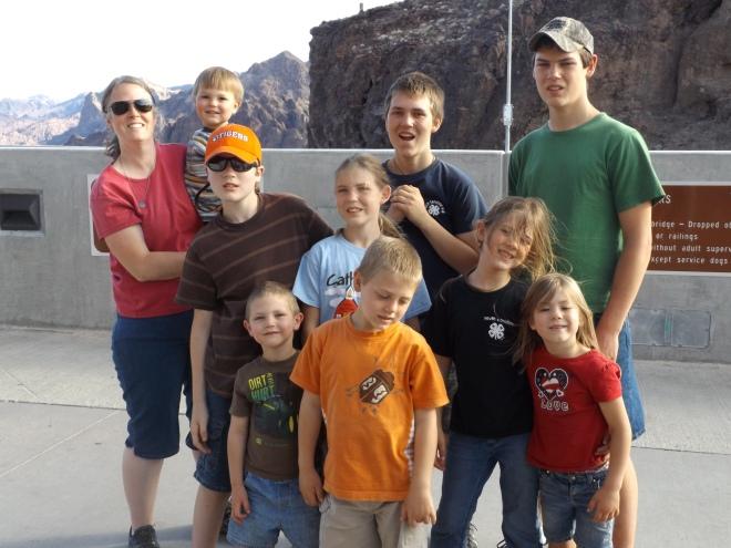 Rebecca with kids overlooking Hoover Dam.