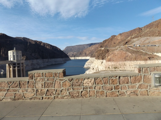 View of the Colorado River from the top of Hoover Dam