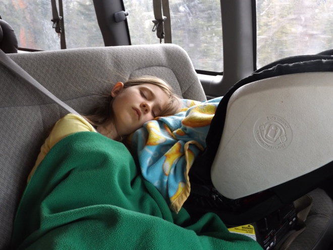Annette taking a nap in the car.