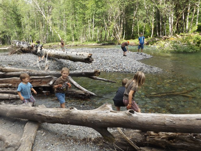 Kids playing in the river at Mt. Rainier