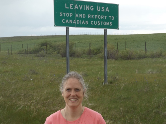 Rebecca at the Canadian border.
