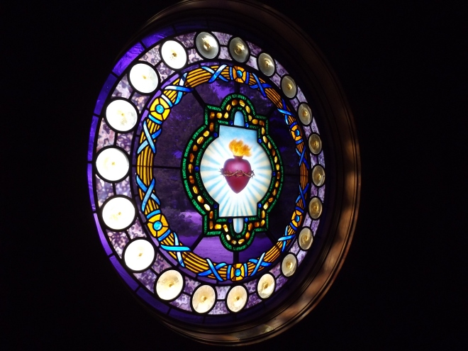 The stained glass at the Chapel of the Sacred Heart in the Grand Tetons.