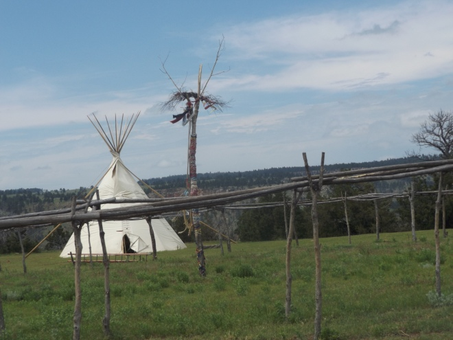 "One of the teepees and the ""Tree of Life"" set up for the Sun Dance"